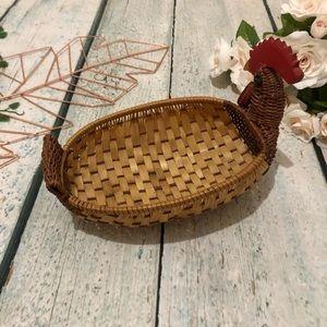 3/$25 Rooster chicken Len basket decor red brown